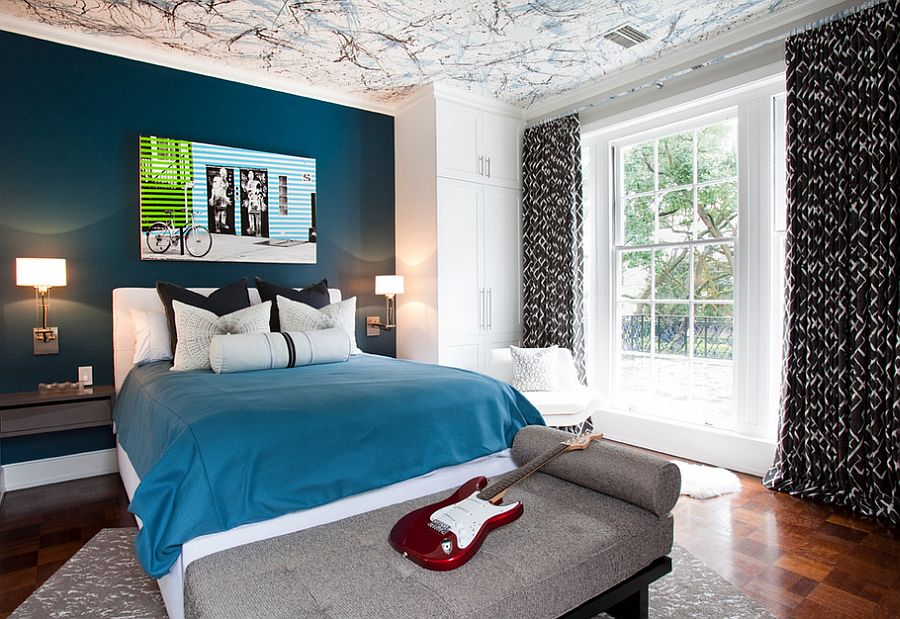 Bedroom With Ceiling Art Combined With Blue and White Wall Paint