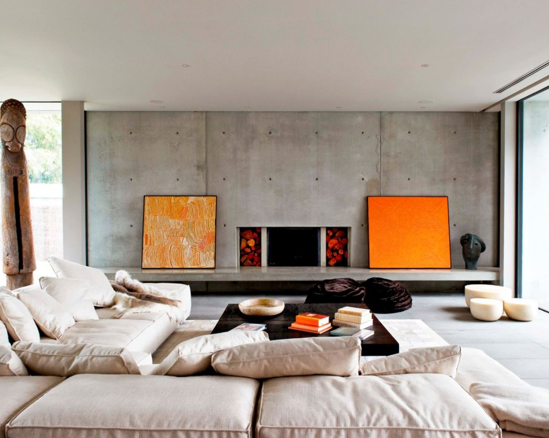 Concrete Contemporary Living Room
