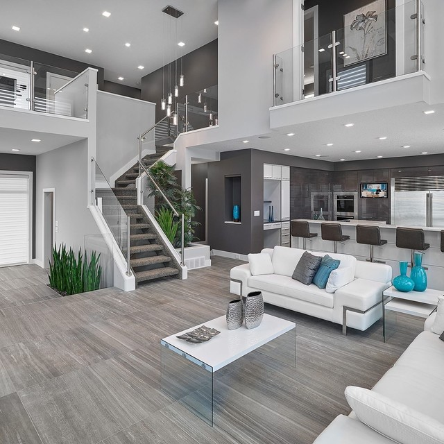 Contemporary Open Concept Living Room
