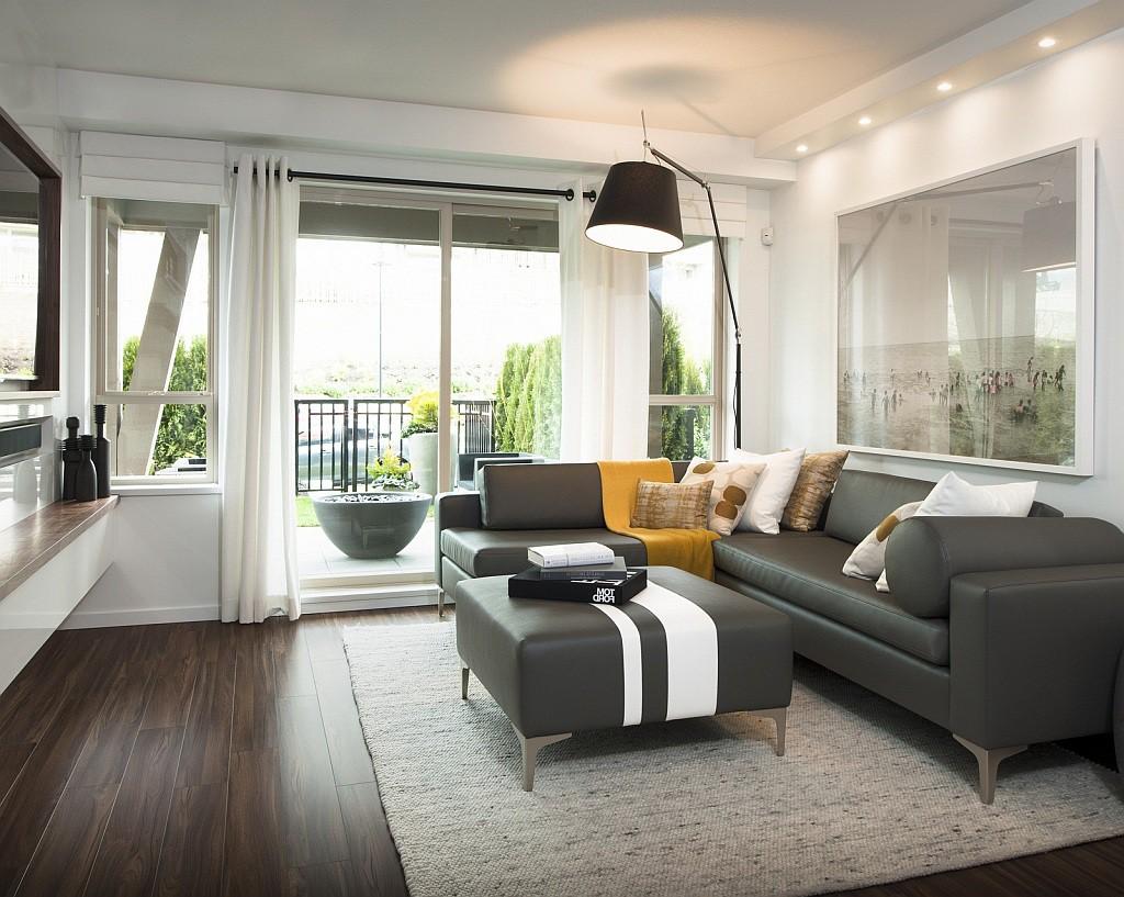 Gray Living Room Rug Dark Hardwood Floors