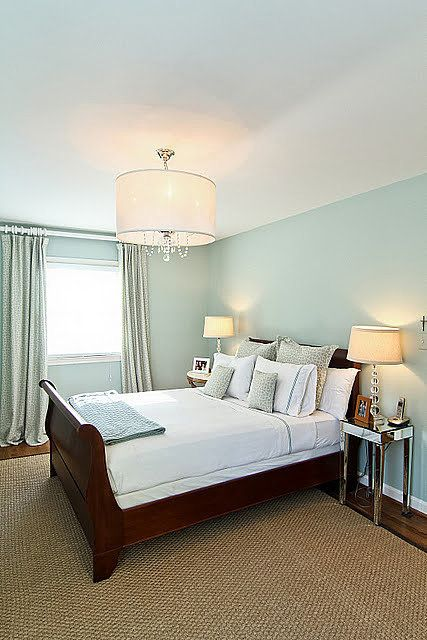 Small Bedroom With Palladian Blue Paint Color
