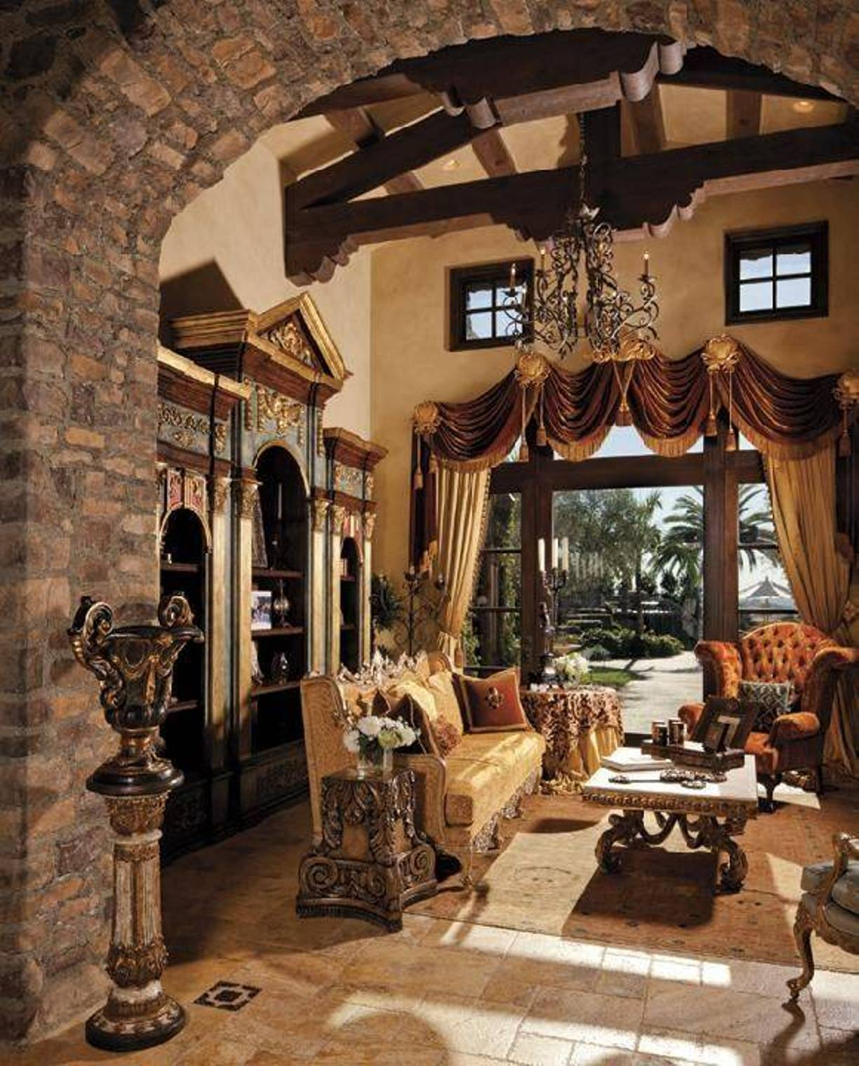 Bohemian interior design curtains for Tuscany living room ideas