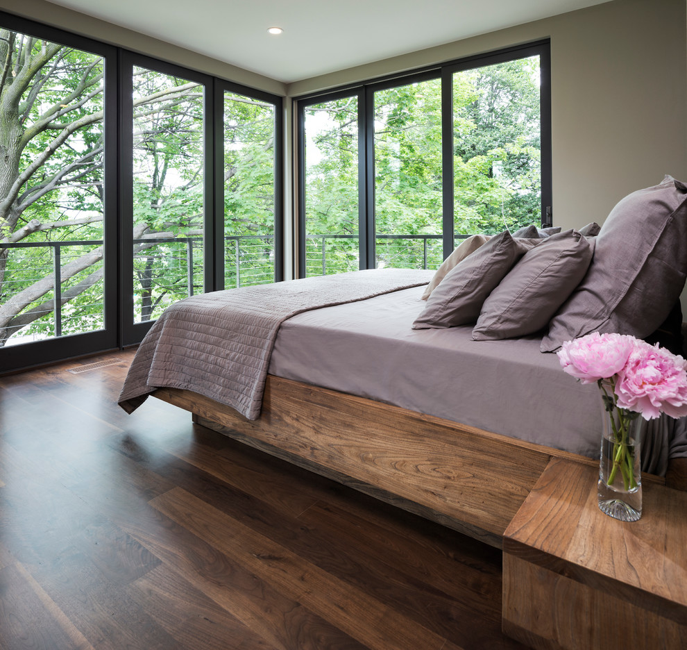 Bedroom With Hardwood Flooring