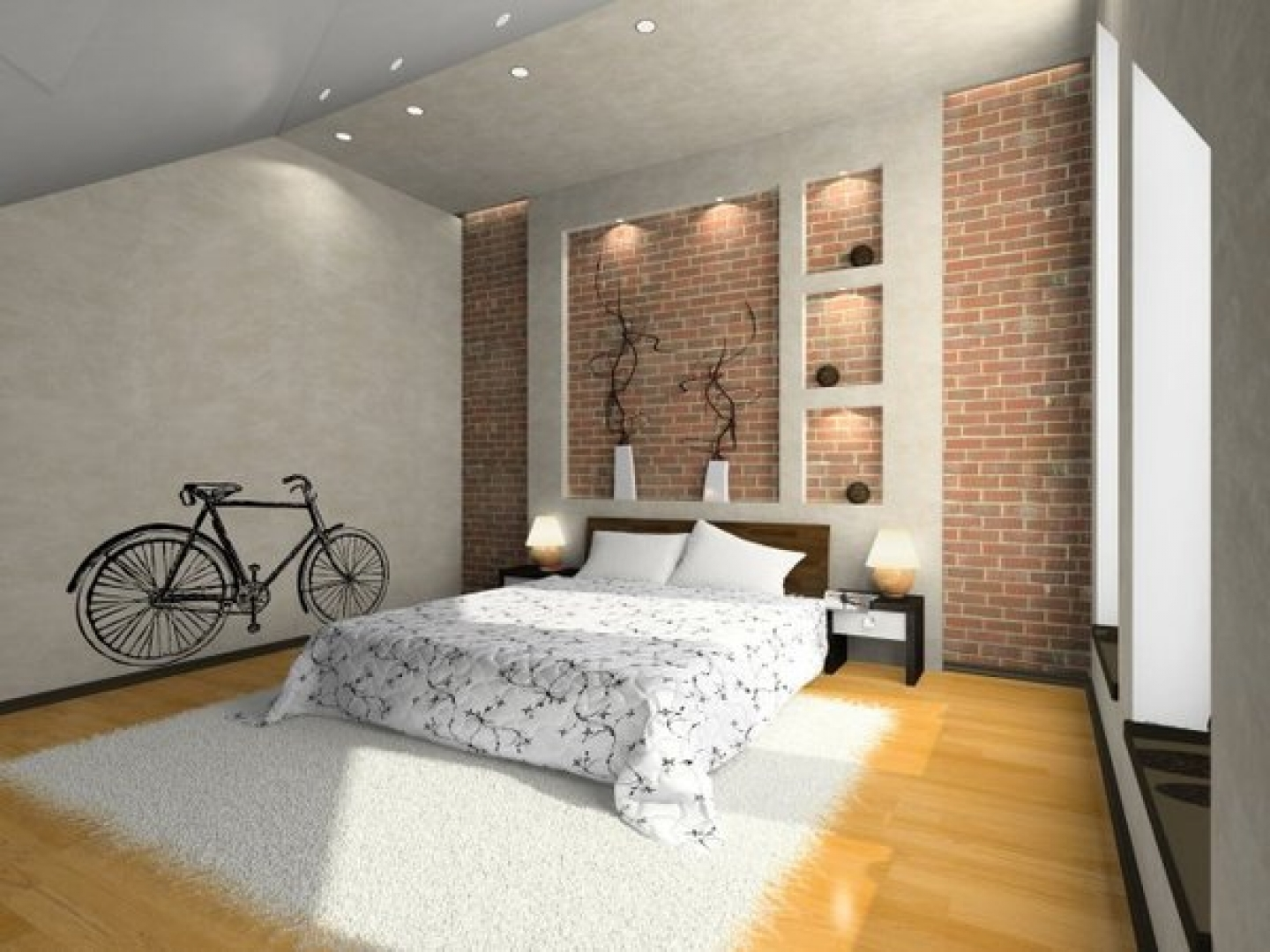 20 awesome wallpaper designs for bedroom for Interior brick wall designs