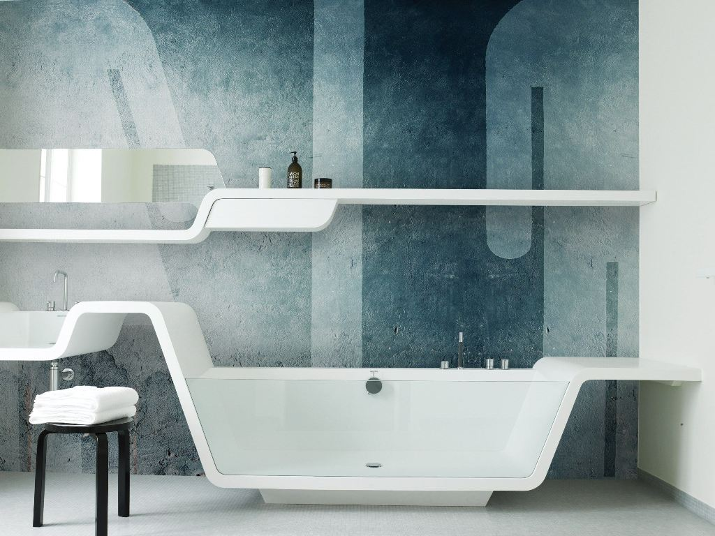 15 stunning bathroom wallpaper design ideas for Modern bathroom wallpaper