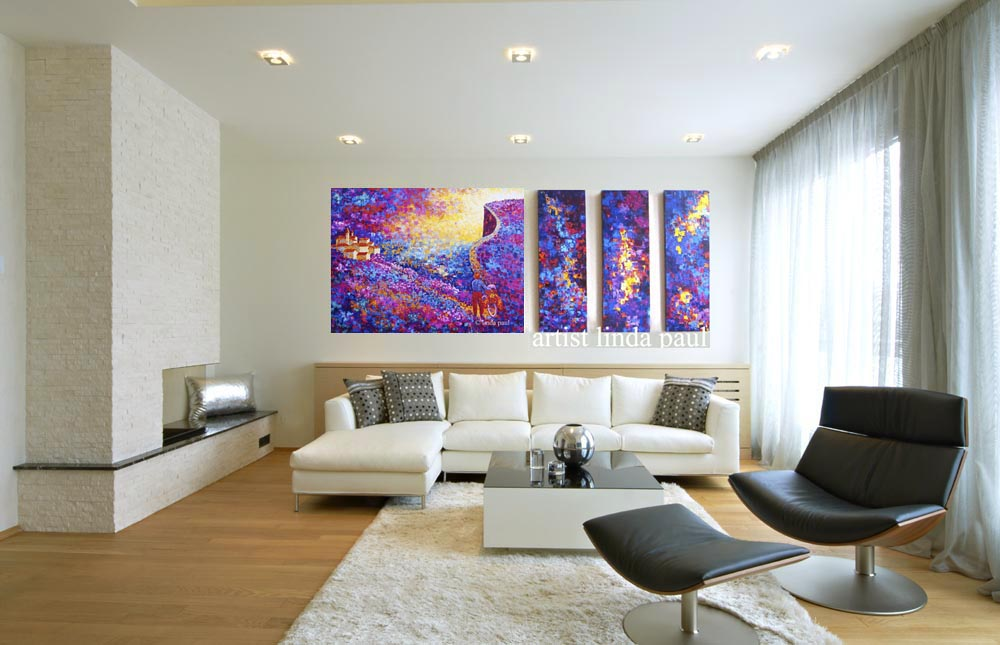 Contemporary Living Room With Large Colorful Wall Art