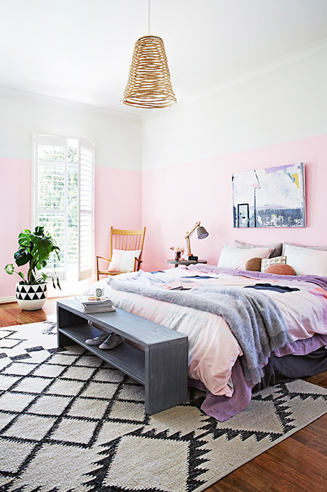 Industrial Pastel Colored Bedroom