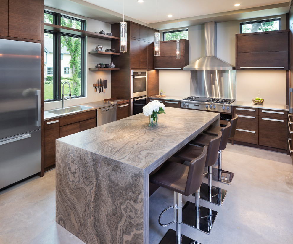 Island Modern Kitchen With Granite Countertop
