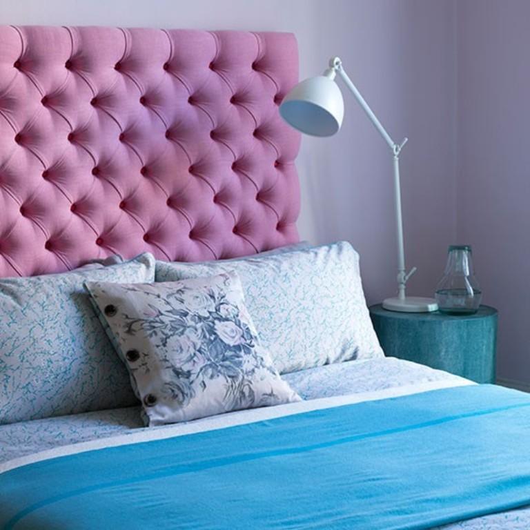 Light Bedroom With Pink Headboard