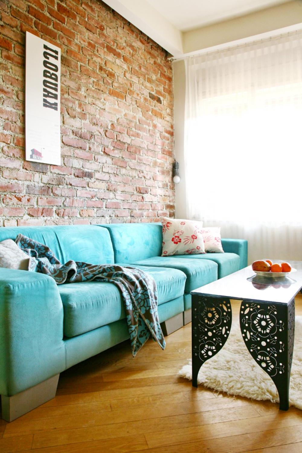 Exposed brick wall living room ideas modern house for Wall pics for living room