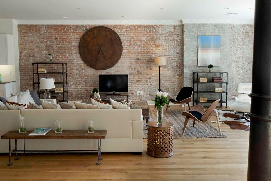 Living Room With Exposed Brick Wall (14)