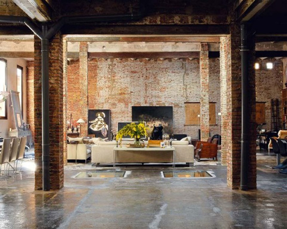 Living Room With Exposed Brick Wall (9)