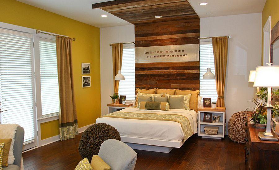 Modern Bedroom With Rustic Headboard