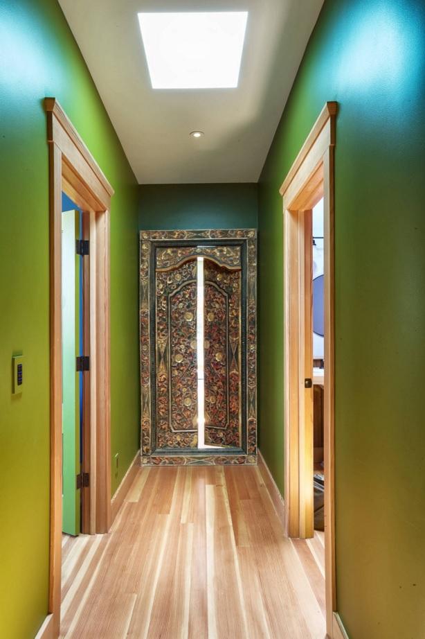 Modern Green Hallway Design