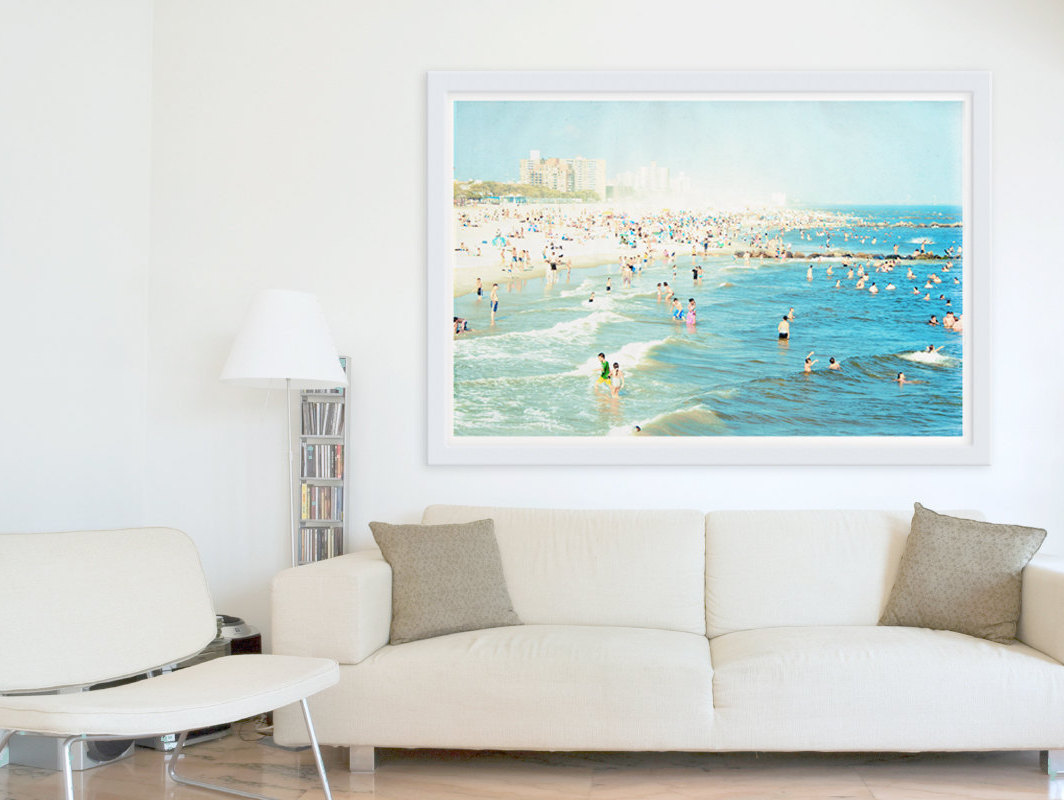 modern living room with beach inspired artwork