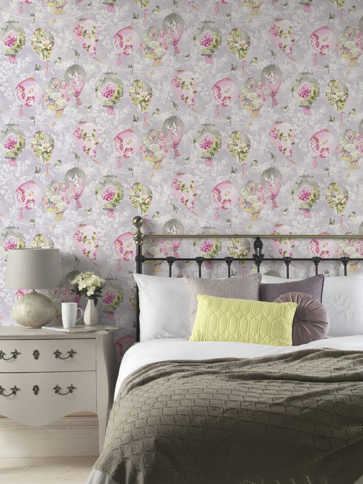beautiful wallpaper design offering painterly effect paper lanterns