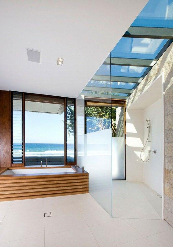 Minimalist Bathroom With Open Glass Shower