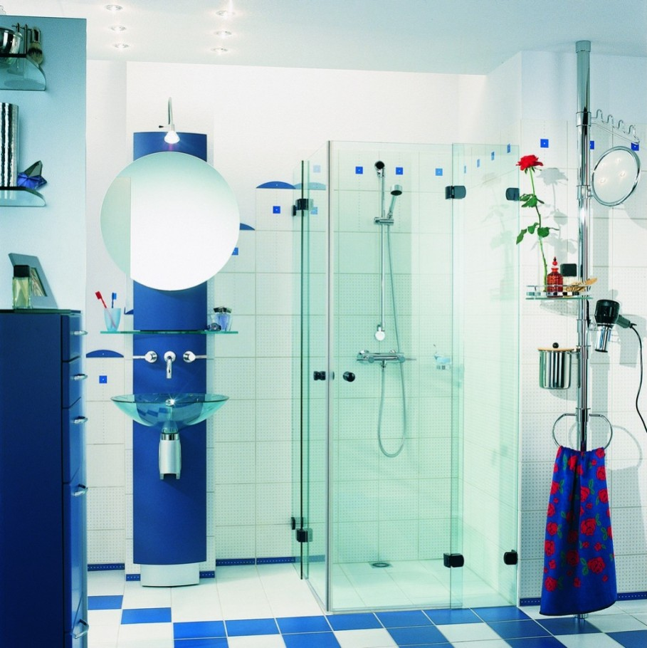 Modern blue and white bathroom - Tiny Bathroom With Transparent Glass Shower