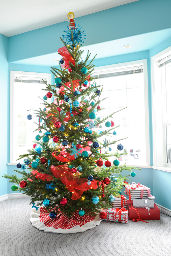 White Christmas Tree Blue Led Lights
