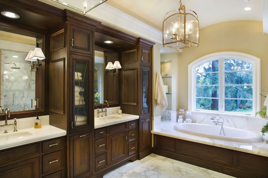 25 extraordinary master bathroom designs for Dark wood bathroom designs