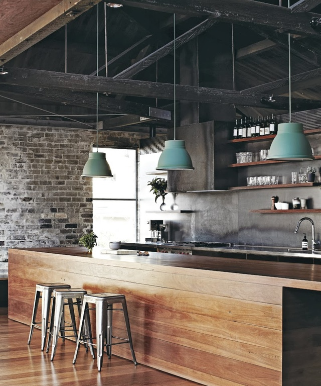 industrial-kitchen-with-dark-rustic-ceiling
