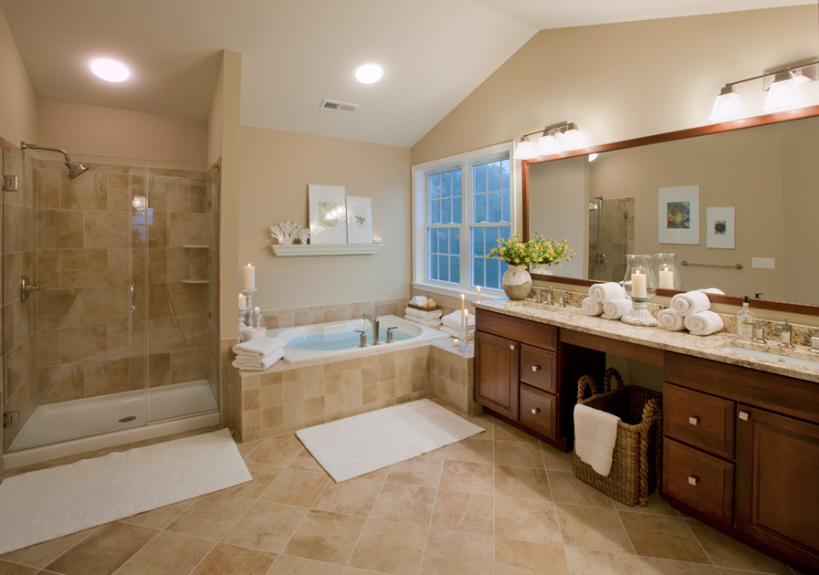 25 extraordinary master bathroom designs for Bathroom bedroom design