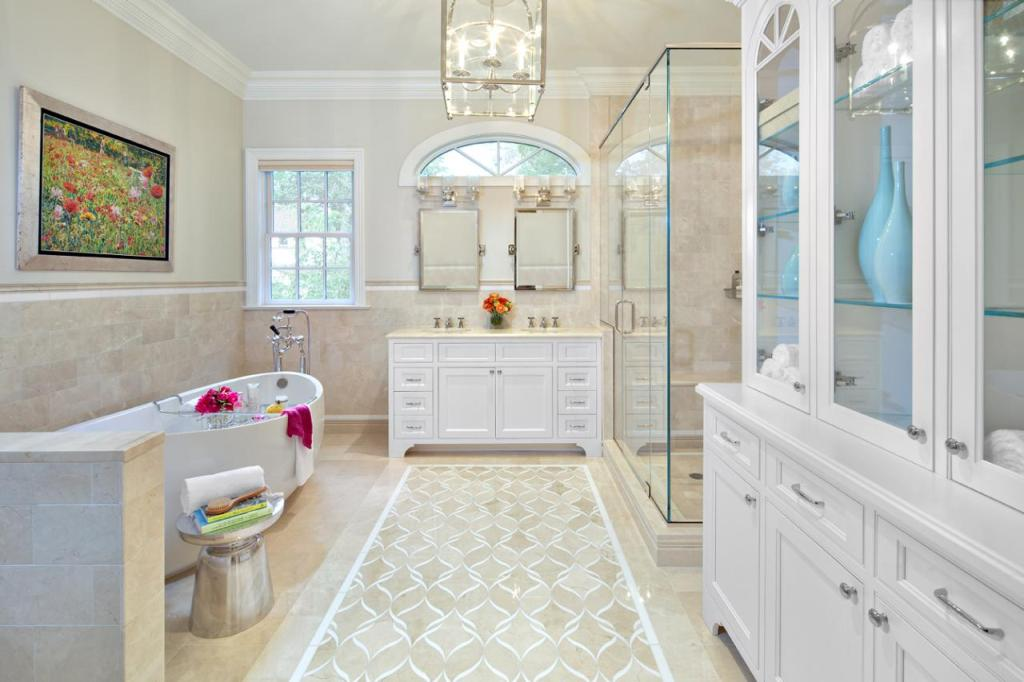 countertops in this master bathroom design offer a nice contrast