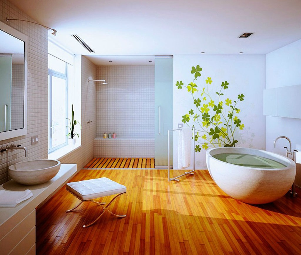 Hardwood Floor In Bathroom peaceful inspiration ideas hardwood floor for bathroom creative of hardwood floor bathroom floors in Spacious Bright Bathroom With Wood Floor