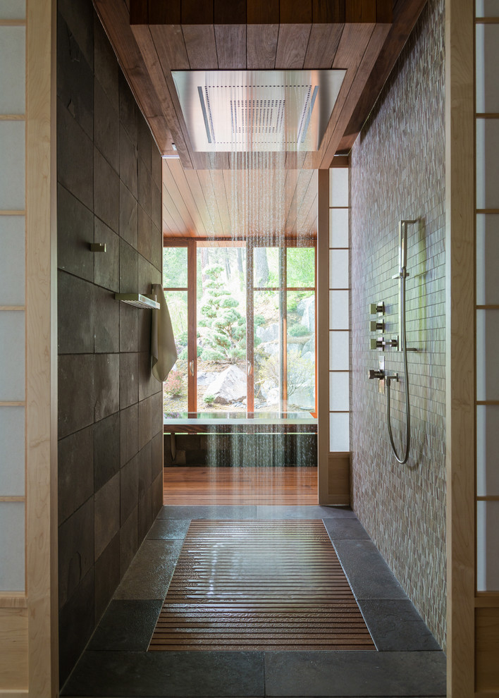 textured-rustic-style-walk-in-shower-design