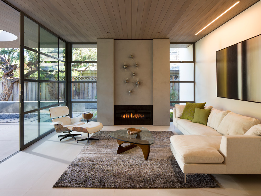 21 fresh modern living room designs - Modern fireplace living room design ...