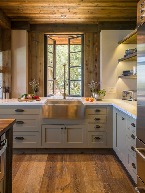 rustic kitchen with steel countertop