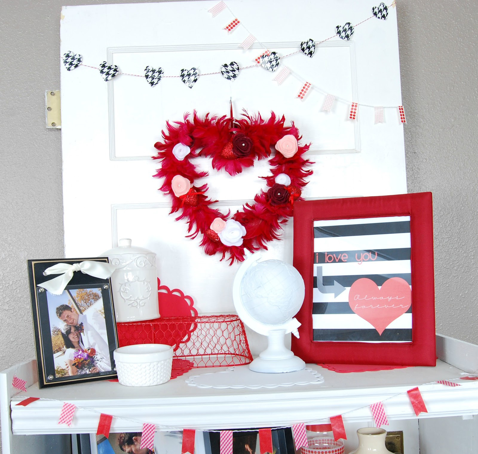 40 adorable red valentine 39 s day decor ideas for Valentine decorations to make at home