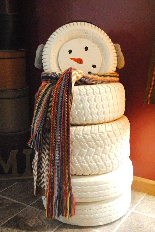 diy-snowman-with-recycled-tires