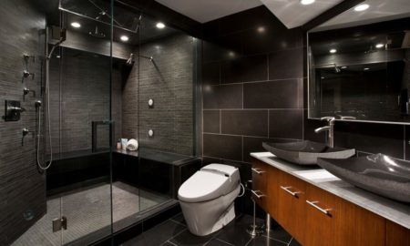 Golden wood cabinets Dark bathroom