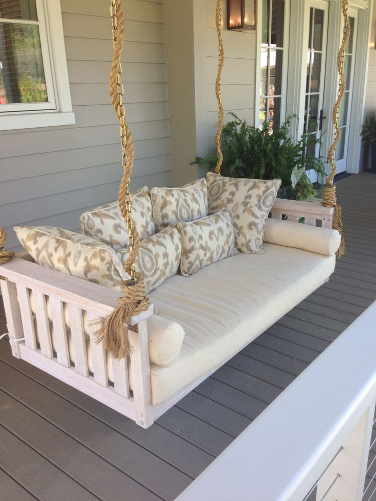 10 amazing outdoor swing bed designs for Pictures of porch swings