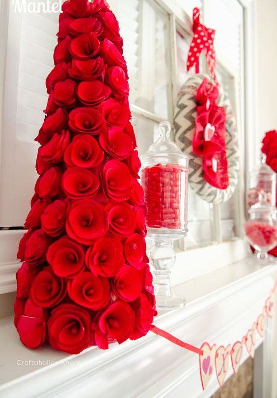 Hot Red Valentine's Day Fireplace Decor