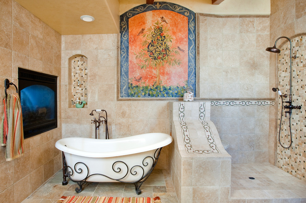 Mediterranean Bathroom With Bathtub