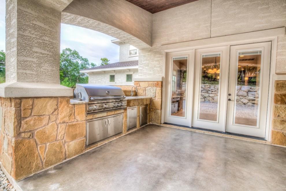 Mediterranean Porch Design With Outdoor Kitchen