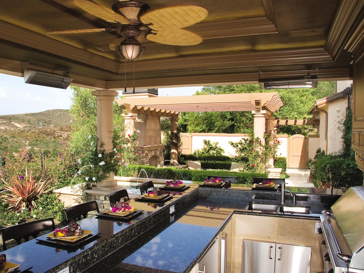 Mediterranean Porch Design With Stylish Kitchen