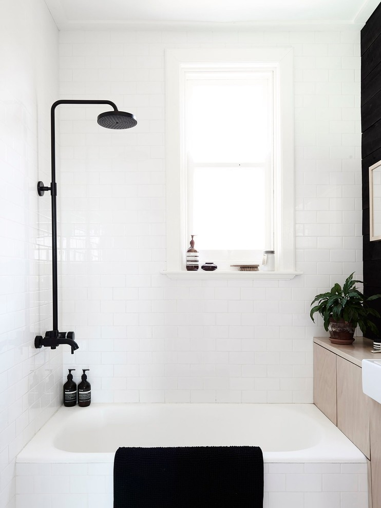 Scandinavian Bathroom With Bathtub