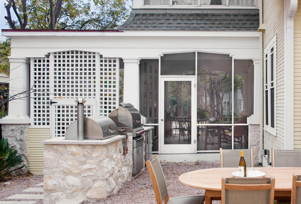 Traditional Porch Design With Outdoor Kitchen