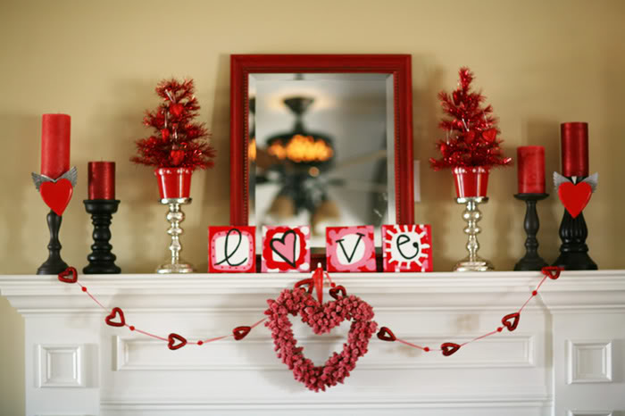 Valentines Day Fireplace Decor