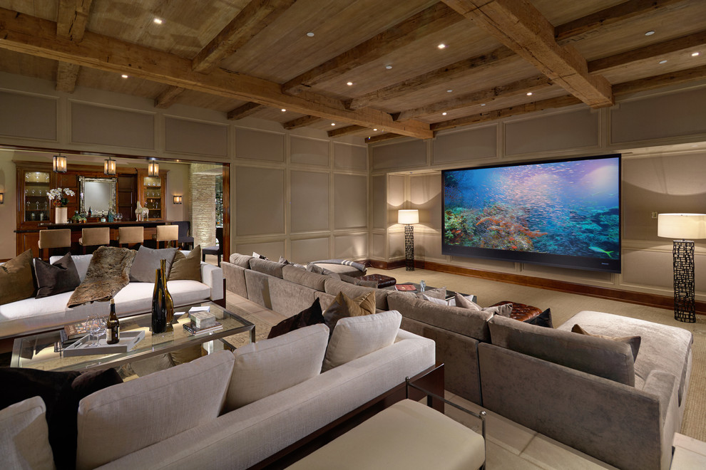 Mediterranean Tv Room Design