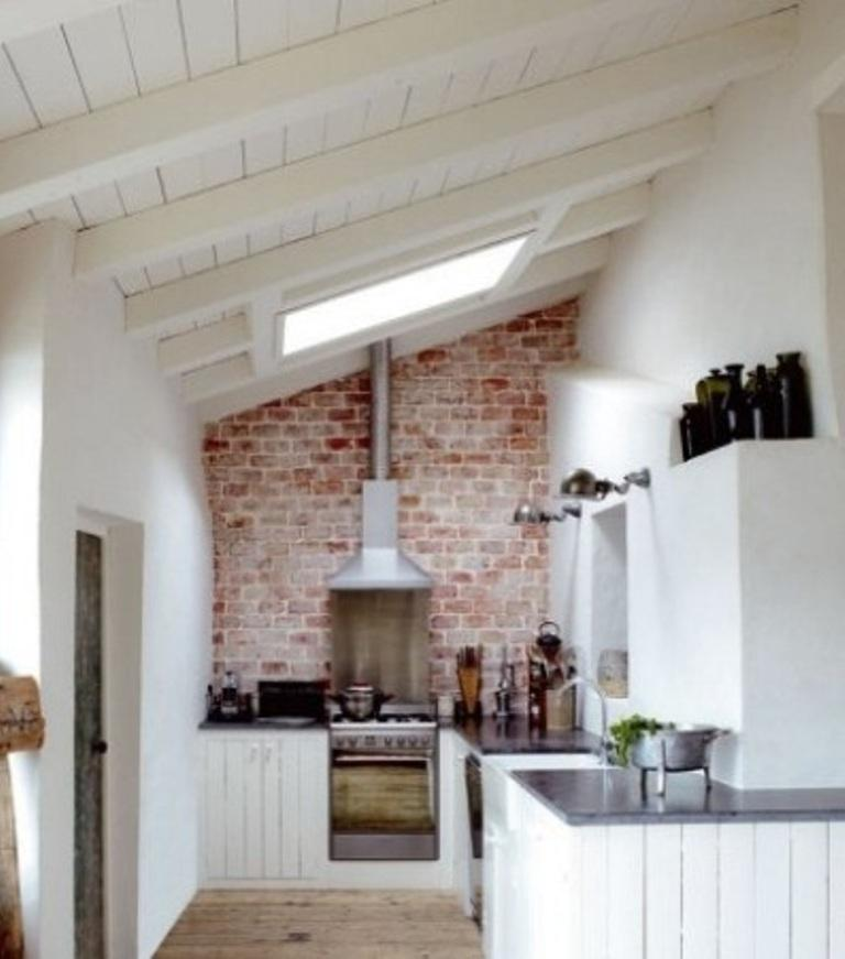 Attic Brick Backsplash Kitchen Design