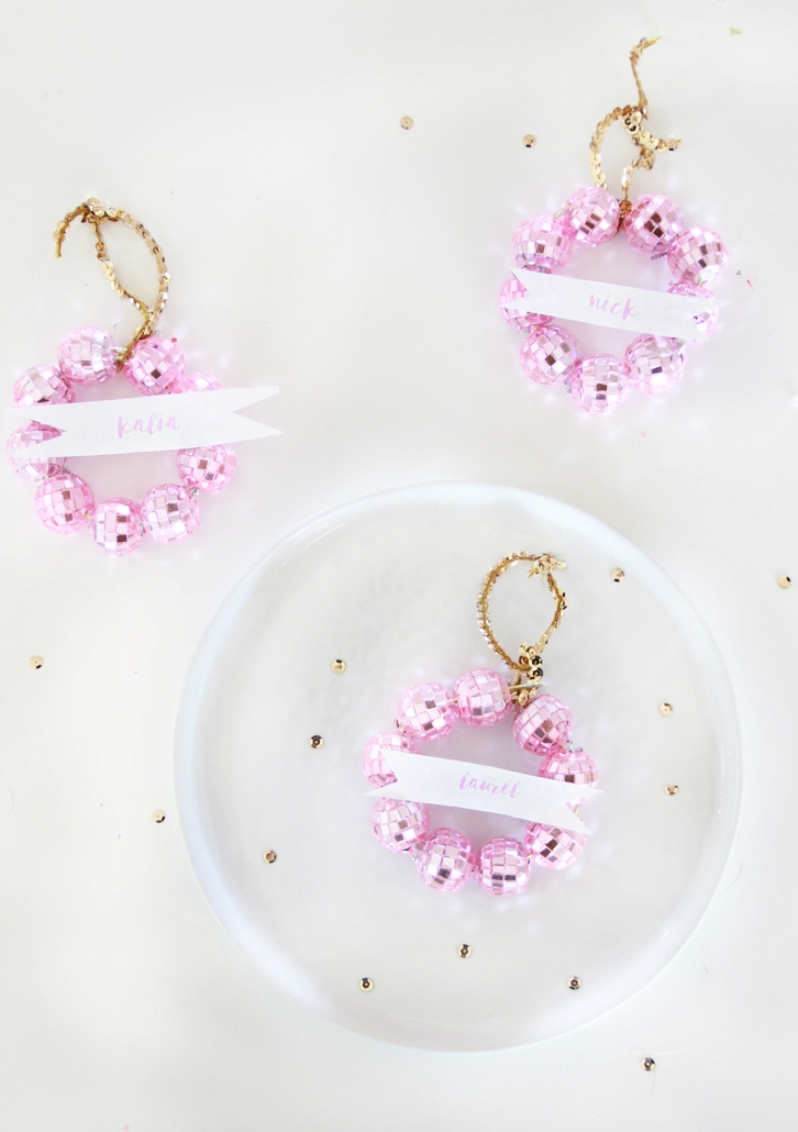 DIY Disco Ball Wreath Place Cards & Ornaments