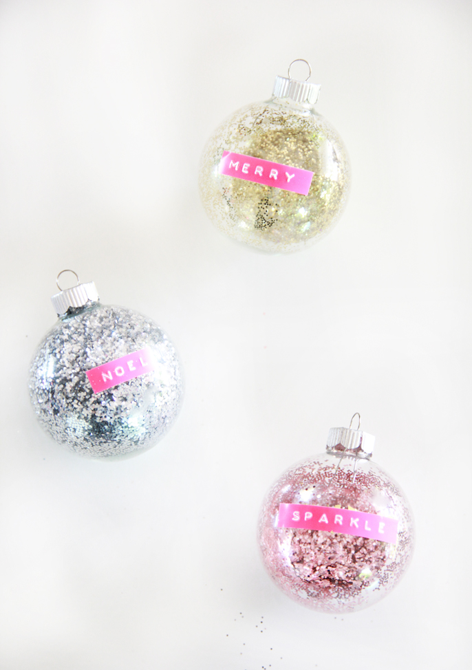 DIY Retro Label Maker Glitter Ornaments