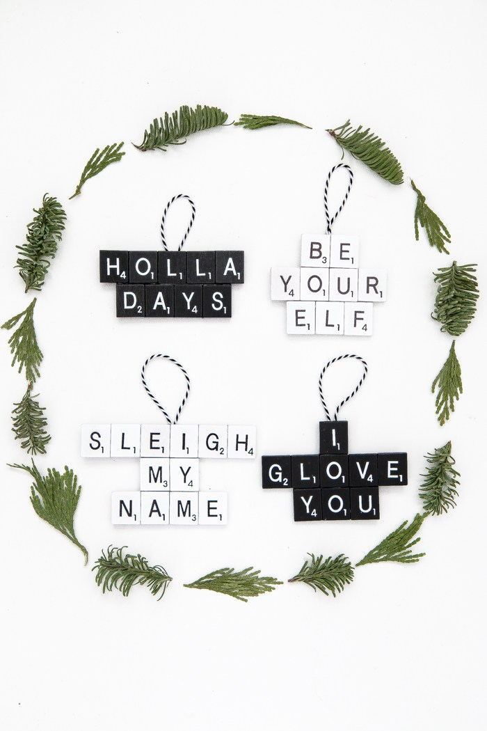 DIY Punny Scrabble Ornaments