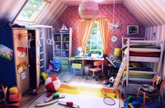 Kids Attic Narrow Bedroom Design