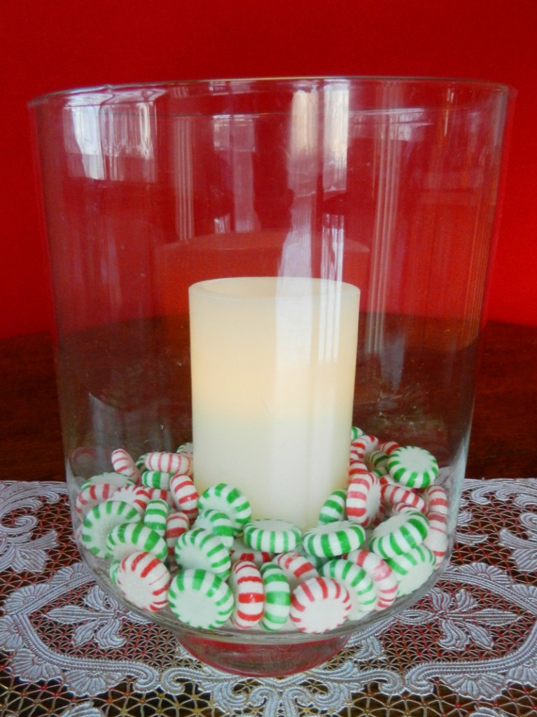 Candle + Peppermint Candies in a Hurricane Vase