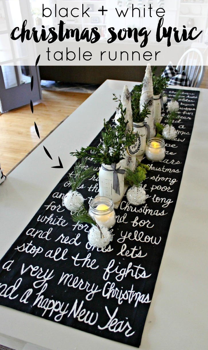 Christmas Song Lyric Table Runner